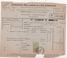 FACTURE COMPAGNIE PARISIENNE DE L'AIR COMPRIME - ASCENSEURS - 1922 1923 - Frankrijk