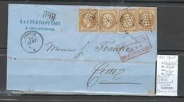 France - Lettre PAQUEBOT CYDNUS -1861 - Paquebot De La Méditerranée - Yvert 13 X 4 - Cachet Ancre - Postmark Collection (Covers)