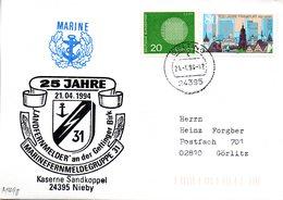 """(FC-3) BRD Cachet-Umschlag Bundesmarine """"25 Jahre MARINEFERNMELDEGRUPPE 31"""" MiF BRD Mi 620,1721 TSt 21.4.1994 GELTING - [7] Federal Republic"""