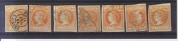 Año 1860 Edifil 52 Isabel II 7 Sellos Matasellos Varios - Usati
