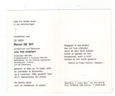 DP Marcel DE WIT Geb. Baal 1918,krijgsgevangene,weerstander Verzetsgroep FIDELIO,echtg.v Julia VAN ROMPAEY,gestorv.1988 - Godsdienst & Esoterisme