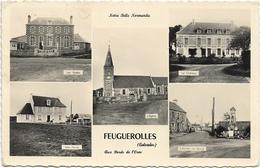 14 CPA FEUGUEROLLES ECOLE EGLISE FERME ENTREE DU BOURG EGLISE - France