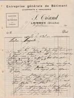 Facture 1912 / S. TREAND / Bâtiment Charpente / Le Brey (et Maison Du Bois) / Boujailles / Canton Frasne / 25 Doubs - Frankrijk