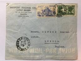 VIETNAM 1950 Air Mail Cover Saigon To London - Vietnam
