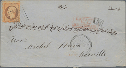 "Französische Post In Der Levante: 1868, 40 C Napoleon With ""5079"" Rhombus Cancel And Besides Red Fra - Levant (1885-1946)"