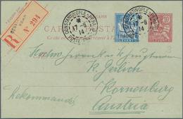 Französische Post In Der Levante: 1903, 1 Pia. On 25 C Blue Additional Franking On 10 C Registered P - Levant (1885-1946)