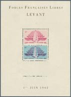 """Französische Post In Der Levante: 1942, """"FORCES FRANCAISES LIBRES AU LEVANT"""" Souvenir Sheet Showing - Levant (1885-1946)"""