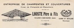 Facture 1936 / LHOSTE / Charpente Parquets Scierie / Sigle Franc-Maçon / Vulaines Sur Vanne / 10 Aube - Frankrijk