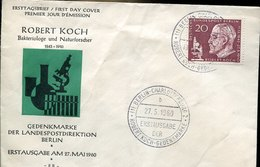 50698 Germany, Fdc 1960  Robert Koch,  Nobel Prix   Prix Nobel, - [5] Berlín