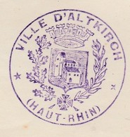 Courrier 1923 / Attestation Mairie Altkirsch ( Cachet) / Domicile Inconnu - Frankrijk