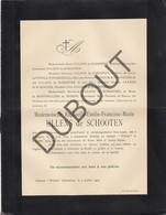Doodsbrief Raphaëlle ULLENS De SCHOOTEN °1835 Schoten †1894 Château Withof, Schoten (H201) - Overlijden