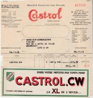 Petite Facture Castrol 1934 / 92 Courbevoie / Grande Vignette Huile Moteur - Auto's