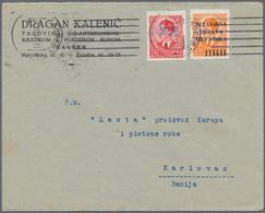 "Kroatien: 1941, 0.50din. Orange Overprint Stamps In Combination With Yugoslavia 1.50din.red With ""ND - Kroatien"
