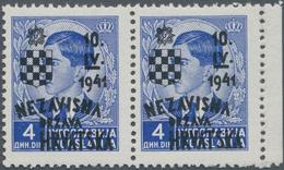Kroatien: 1941, 4din. Ultramarine With Trial Overprint In BLACK, Right Marginal Horizontal Pair, Min - Kroatien
