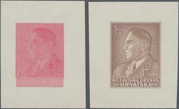 Kroatien: 1942/1943, Dr.Ante Pavelić, Two Essays For A Nor Realised Design On Ungummed Paper: Single - Kroatien