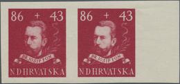 Kroatien: 1944/1945, 86k.+43k. Dr.Josip Fon, Imperforate Essay Proof Pair For A Not Realised Design - Kroatien