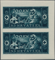 Kroatien: 1944/1945, 100k. Red Cross, Imperforate Essay Proof Pair For A Not Realised Design On Gumm - Kroatien