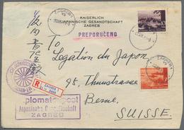 Kroatien: 1944, 7k. Orange-brown And 10k. Blackish Lilac On Registered Diplomatic Cover Of The Imper - Kroatien