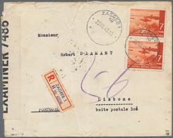 Kroatien: 1941, Cover Address For Letters To England Via Portugal: 7k. Orange-brown, Vertical Pair O - Kroatien