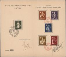 Kroatien: 1942, Red Cross, Complete Set Of Five Values Plus Related Charity Tax Stamp, Presentation - Kroatien