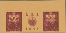 Kroatien: 1944, National Labour Service, Three Imperforate Colour Trial Gutter Pairs: 3.50k.+1k. Bro - Kroatien