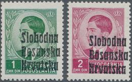 Kroatien - Lokalausgaben: Banja-Luka: 1941, 1din. Green And 2din. Purple-carmine, Two Values With Ov - Kroatien