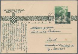 Kroatien - Ganzsachen: 1942, Card 1.5k. Dark Green With Additional Partial/shifted Impression Of Yel - Kroatien