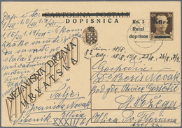 Kroatien - Ganzsachen: 1944, Card Kn.2+Kn.1 On 30c. Brown Commercially Used With Comprehensive Messa - Kroatien