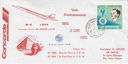 """Concorde , Vol D""""entrainement Paris - Le Caire - Paris ,1976 - Poste Aérienne"""