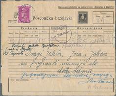 Kroatien - Ganzsachen: 1945, Telegram Form 2k. Black Uprated By Pavelic 4k. Lilac And 30xpostal Tax - Kroatien
