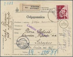 Kroatien - Besonderheiten: 1944, Dienst-Paketkarte Von Zupanja (14.3.1944) Nach Sarajevo, Für Paket - Kroatien