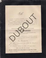Doodsbrief Adolphe Alexandre Antoine De BOUSIES °1804 † 1892 Ghlin/Mons (H199) - Overlijden