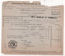 FACTURE COMPAGNIE PARISIENNE DE ( L'AIR COMPRIME )- ASCENSEURS - 1922 - Frankrijk