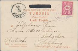"""Mazedonien: 1902, Turkey 20 P. Red Tied Violet Bilingual """"USKUB (GARE) 28-3-1902"""" To Ppc """"Gruss Aus - Macedonië"""