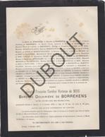 Doodsbrief Josèphe Françoise Caroline Hortense Du BOIS - Baronne Douarière De BORREKENS °1807 †1879 Anvers - Niel (H198) - Overlijden