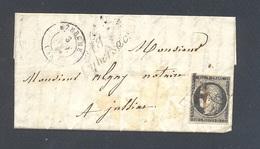 CORREZE 19 LUBERSAC LAC Cursive 18/Lubersac TAD 15 UZERCHE 09/11/1849 20 C Noir Margé Obl Grille TTB Rare Ind 25 - Postmark Collection (Covers)