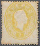 Österreich: 1860, Freimarke Kaiser Franz Joseph 2 Kr. (hell)gelb, Vollzähnige, Frische Marke Mit Fla - 1850-1918 Imperium
