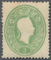 Österreich: 1861, Kaiser Franz Joseph 3 Kr. Grün Mit Vollem Originalgummi Und Falzrest, Rechts Schrä - 1850-1918 Imperium