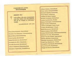 BEGIJNENDIJK  PAROCHIE  ST-LUCIA Plooiprentje (13x9 Cm) Met De Overledenen 1977-1978 - Godsdienst & Esoterisme