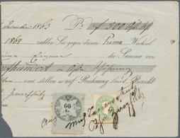 Österreich: 1863, 3 Kreuzer Grün Und Steuermarke 60 Kr Schwarz/grau, Beide Marken Handschriftlich En - 1850-1918 Imperium