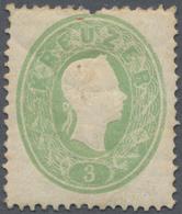 Österreich: 1861, Freimarke 3 Kreuzer Kaiserkopf Im Oval, Hellgrün Mit Zahnlocheinpressung Im Marken - 1850-1918 Imperium