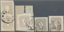Österreich: 1861, Zeitungsmarke Franz Joseph (1.05 Kr.) In Vier Verschiedenen Farbnuancen Dabei Ein - 1850-1918 Imperium