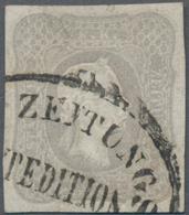 Österreich: 1861, Zeitungsmarke 1.05 Kr. Grauviolett, Farbfrisch, Allseits Breitrandig, Klar Entwert - 1850-1918 Imperium