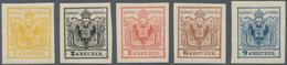Österreich: 1866, 1 Kr Gelb Bis 9 Kreuzer Blau NEUDRUCKE Ungebraucht, Bleistift Beschriftet, Kleine - 1850-1918 Imperium