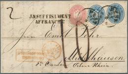 Österreich: 1866/1867, Zwei Unzureichend Frankierte Briefe Nach Frankreich: Faltbriefhülle 1866 Fran - 1850-1918 Imperium