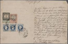 Österreich: 1883, 3 X 10 Kr Blau 'Franz-Josef', Feiner Druck, Zusammen Mit Steuermarke 2 Kr Schwarz/ - 1850-1918 Imperium