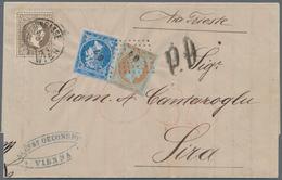 Österreich: 1874, 25 Kr. Braun (senkrechter Bug) Auf Briefhülle Von Wien Nach Syros, Der Griechische - 1850-1918 Imperium