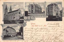 ESCH Sur ALZETTE - Gruss Aus - Kirche - Jünglingsvereinhaus - Neues Schulhaus Alzettstrasse - Haushalttungsschule - Ed. - Esch-Alzette
