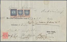 Österreich: 1885, 5 Kr Lilarot/schwarz 'Doppeladler', Zusammen 2 X 1/2 Kr U. 4 Kr Steuermarke Mit Ja - 1850-1918 Imperium