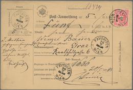 Österreich: 1885, Gebrauchtes Postanweisungsformular Mit Einzelfrankatur Doppeladler 5 Kr. Rosa Von - 1850-1918 Imperium